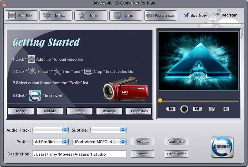 Screenshot of Aiseesoft HD Converter for Mac