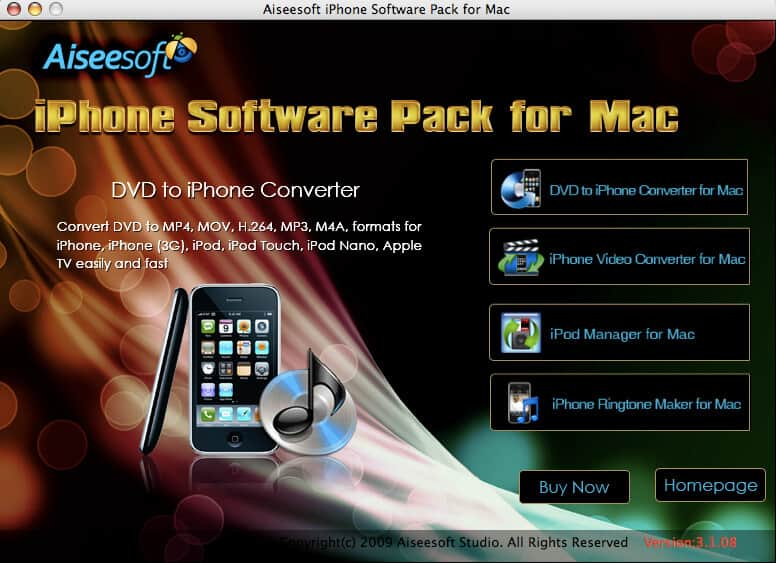 Screenshot of Aiseesoft iPhone Software Pack for Mac 3.1.20