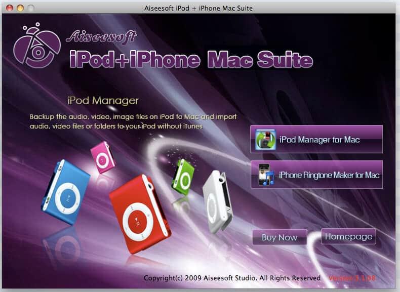 Aiseesoft iPod + iPhone Mac Suite full screenshot