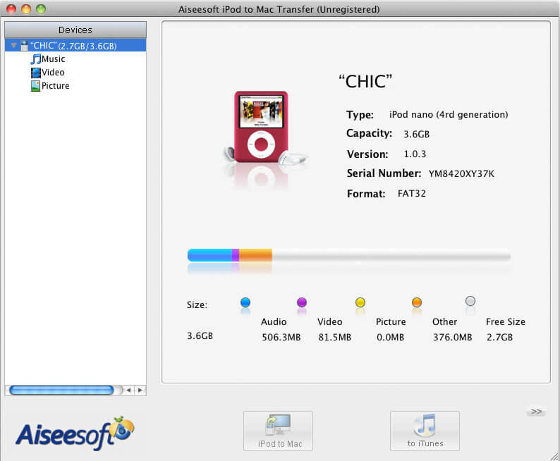 Aiseesoft iPod to Mac Transfer