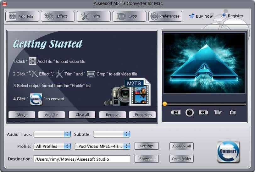 Aiseesoft M2TS Converter for Mac Screen shot
