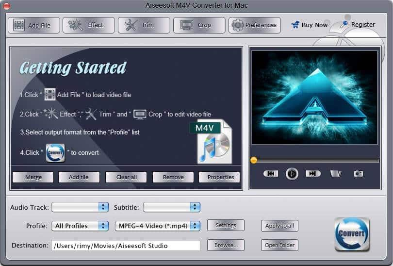 Screenshot of Aiseesoft M4V Converter for Mac