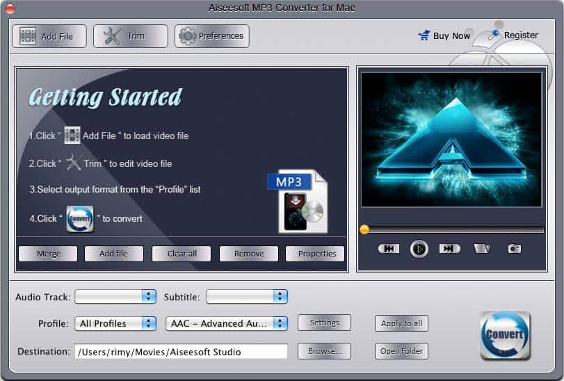 Aiseesoft MP3 Converter for Mac Screen shot