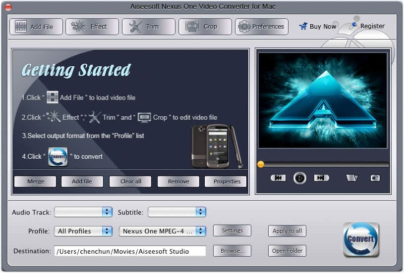 Aiseesoft Mac Nexus One Video Converter screenshot