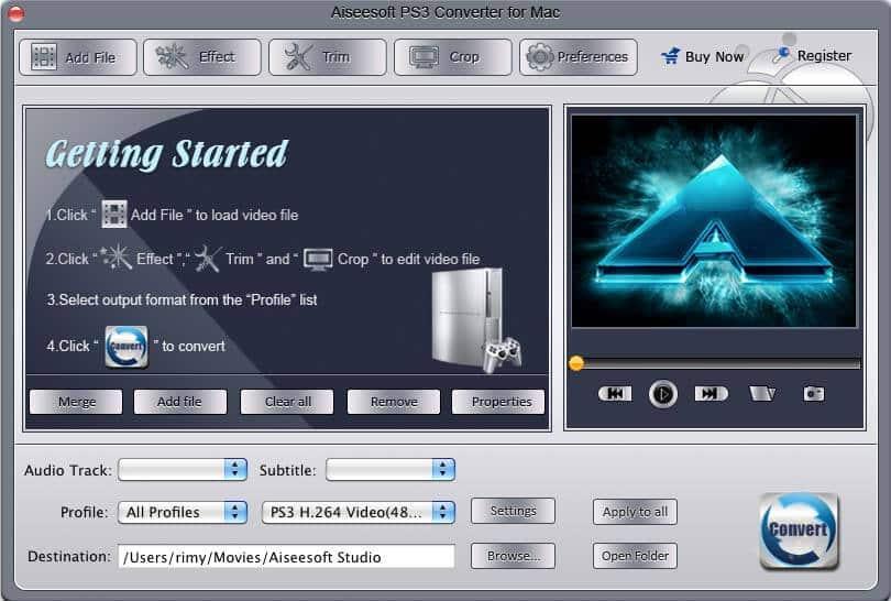 Aiseesoft PS3 Converter for Mac full screenshot
