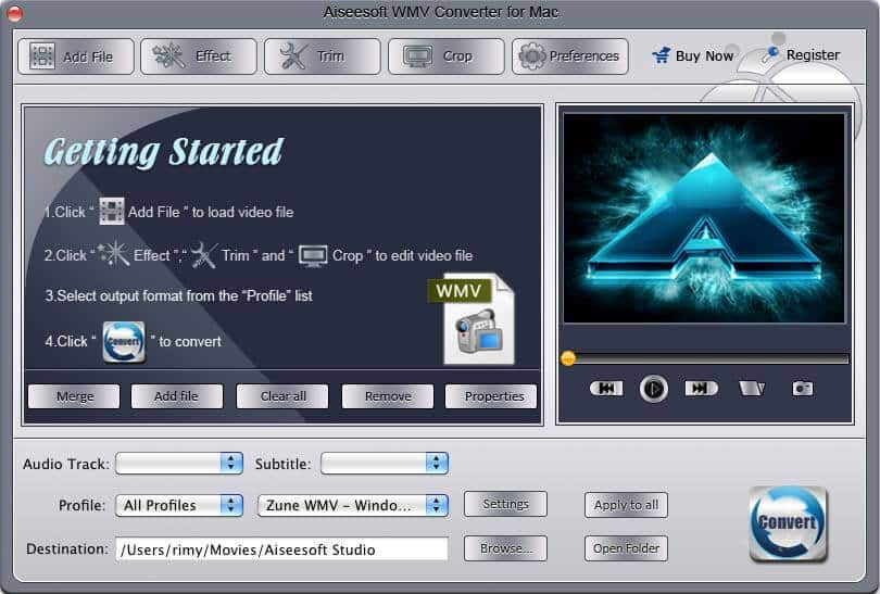 Aiseesoft WMV Converter for Mac screenshot