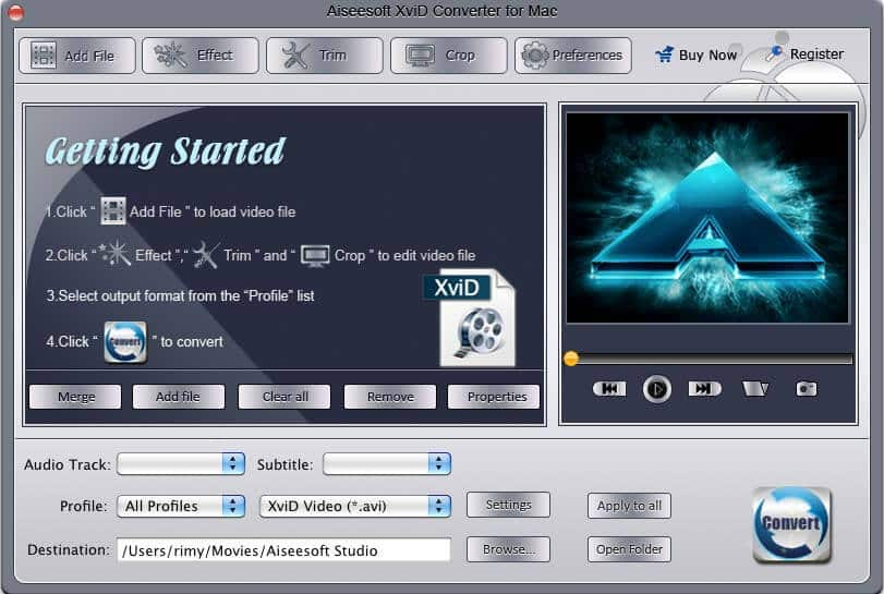 Aiseesoft XviD Converter for Mac Screen shot