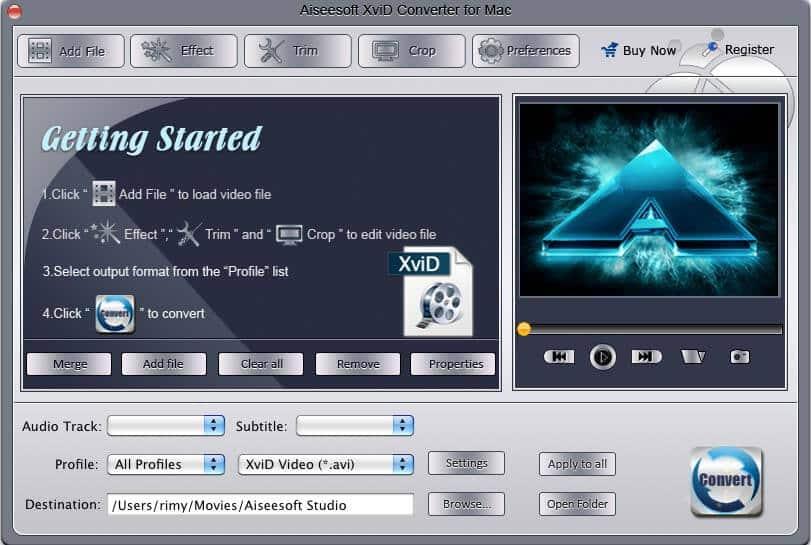 Aiseesoft XviD Converter for Mac Screen shot
