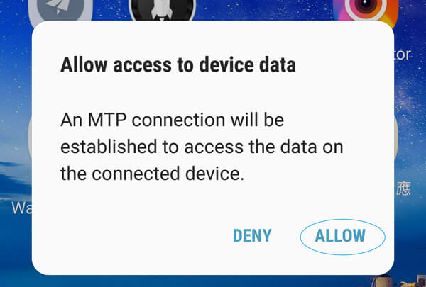 allow MTP on your Android
