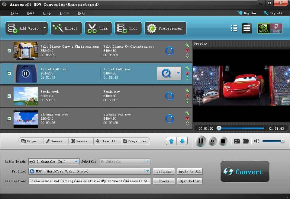 Aiseesoft MOV Converter Screen shot