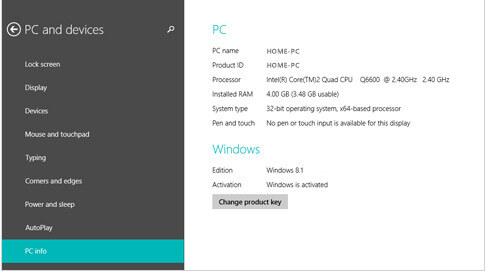 Controllo versione di Windows 8