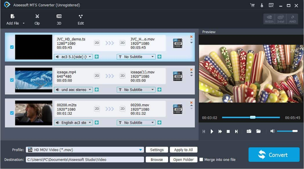 Convert MTS and other popular video/audio files to any video and audio format. latest Screen Shot