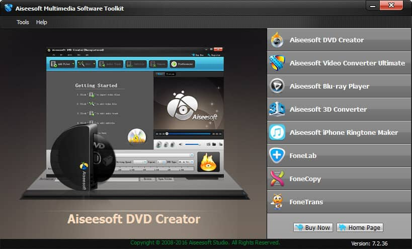 Click to view Aiseesoft Multimedia Software Toolkit 7.2.32 screenshot