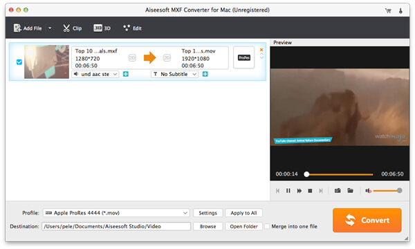 import mxf to converter