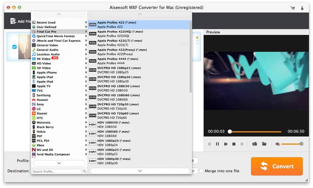 The Interface of Video Converter for Mac