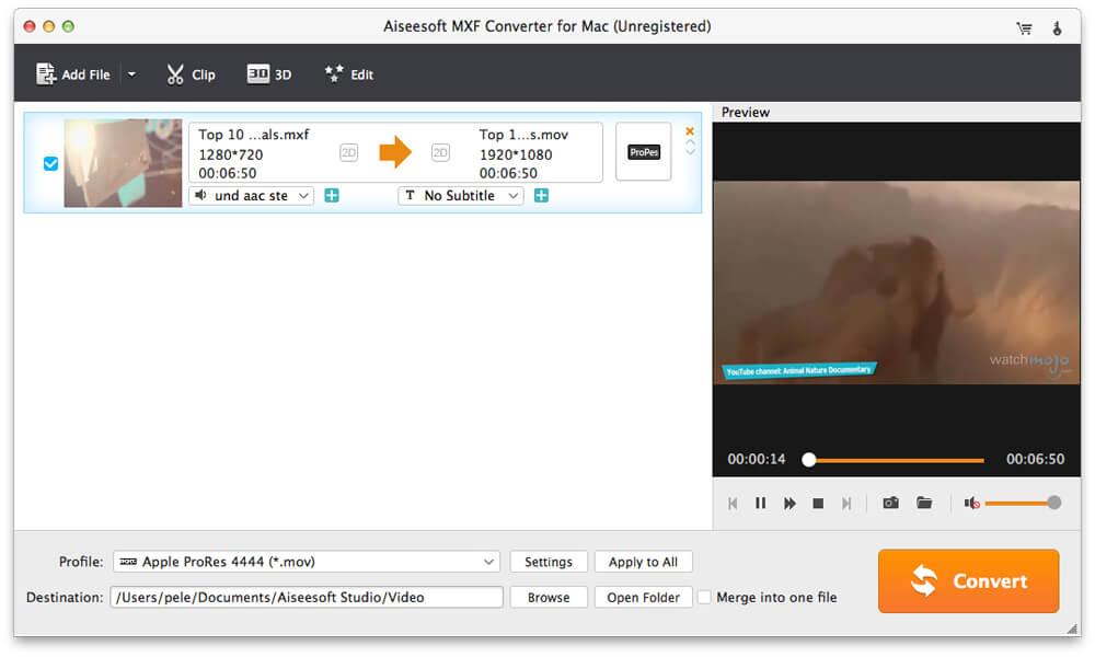 Aiseesoft MXF Converter for Mac full screenshot