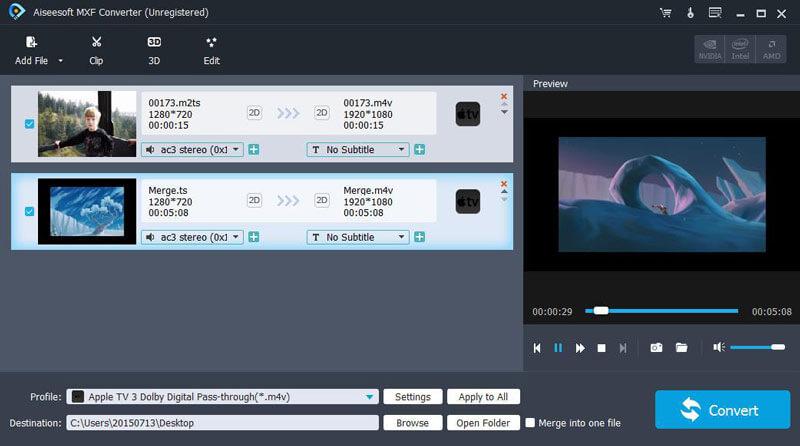 Aiseesoft MXF Converter full screenshot