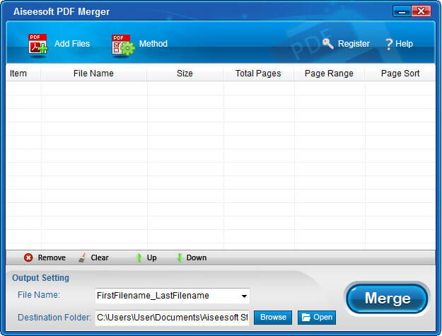 Click to view Aiseesoft PDF Merger screenshots