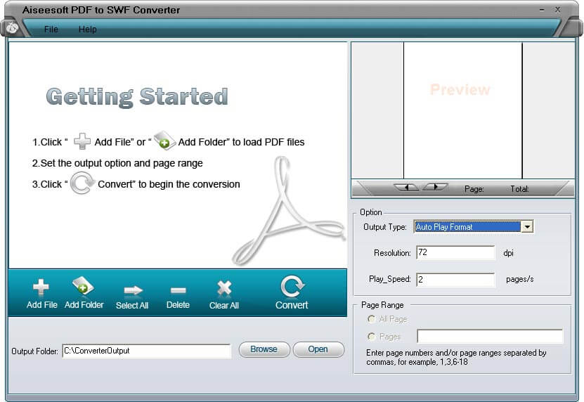 Aiseesoft PDF to SWF Converter Screen shot