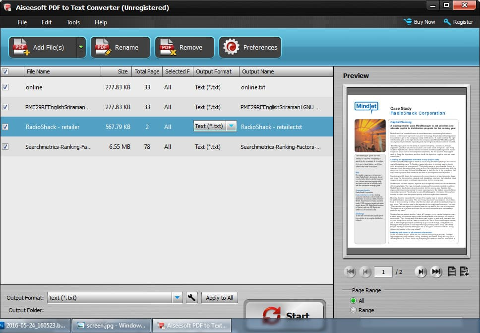 Aiseesoft PDF to Text Converter Screen shot