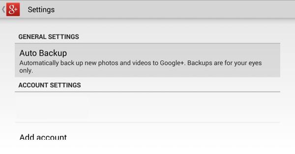Phone Backup con Google+