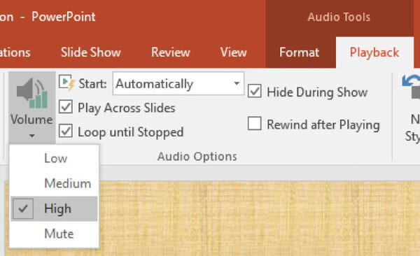 PowerPoint Audio Play Options