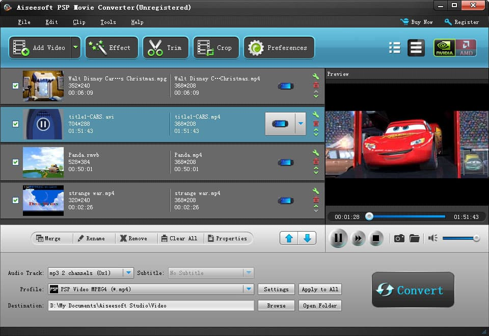 Aiseesoft PSP Movie Converter Screen shot