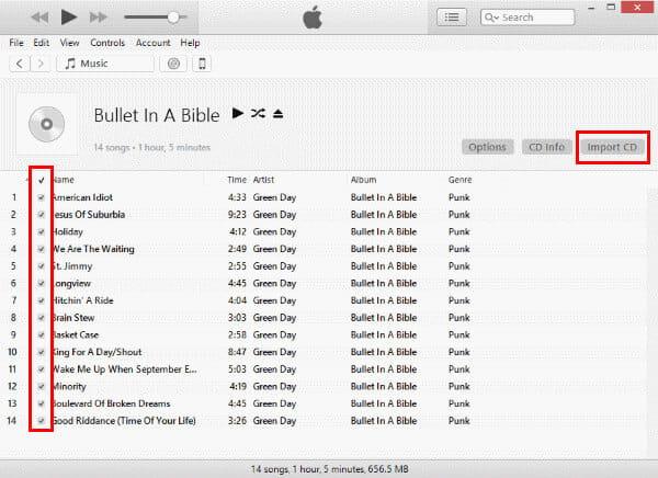 Zaimportuj dysk CD do iTunes
