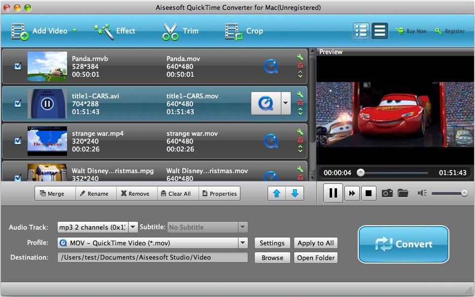 Aiseesoft QuickTime Converter for Mac full screenshot