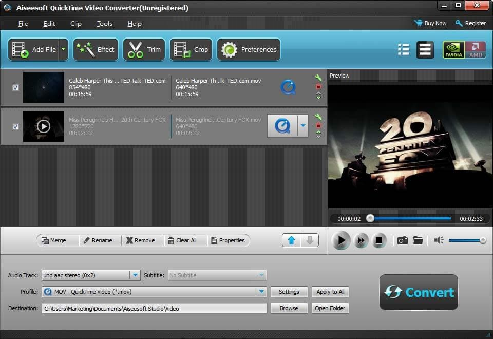 Click to view Aiseesoft QuickTime Video Converter screenshots