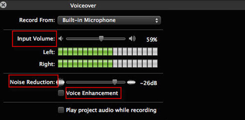 Voiceover Settings in iMovie