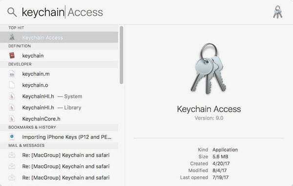 Αναζήτηση Πρόσβασης Keychain σε Mac