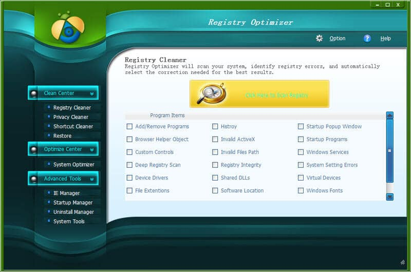 Registry Optimizer Screen