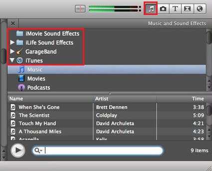 Find Wanted Background Music in iMovie