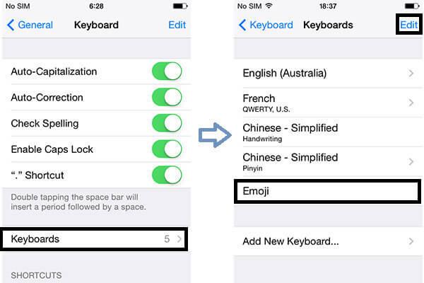 iPhone Διαγραφή πληκτρολογίου Emoji