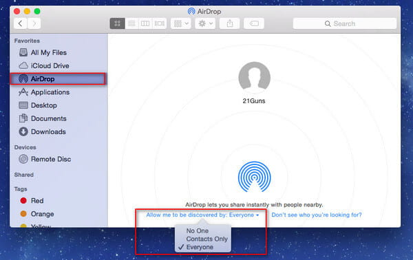 Turn On AirDrop Mac
