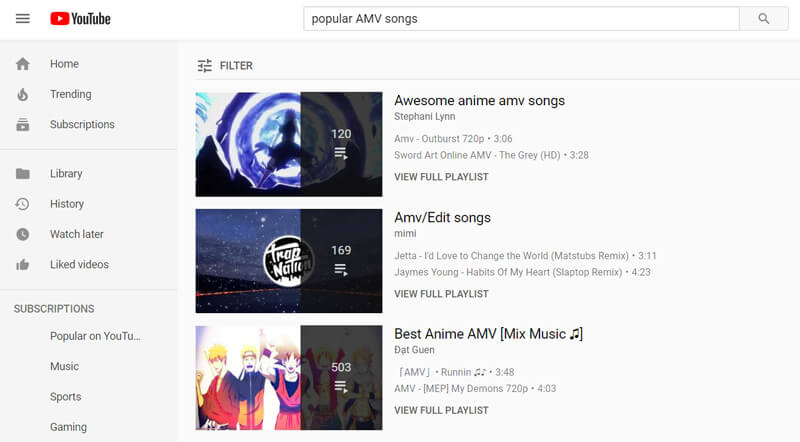 Popularne piosenki AMV na YouTube