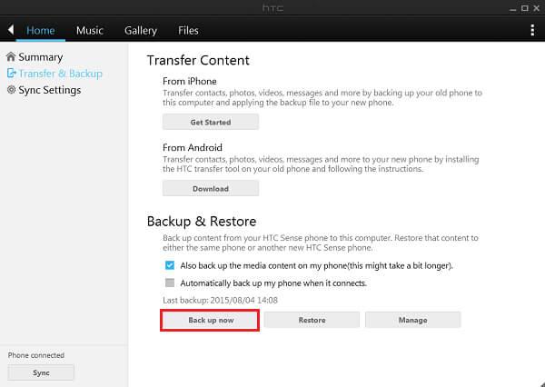 Eseguire il backup di HTC con HTC Sync Manager
