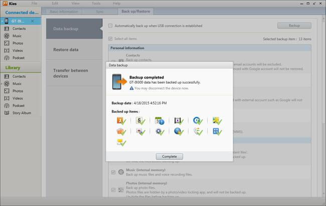 Eseguire il backup dei dati Samsung in Samsung Kies