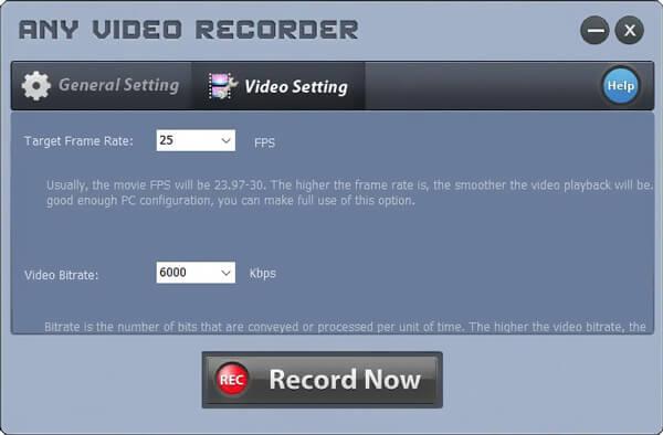 Qualsiasi impostazione del videoregistratore
