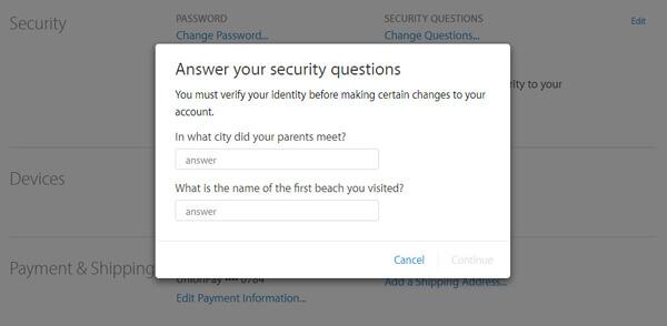 Odpowiedz na pytanie ochronne przed zmianą hasła Apple ID