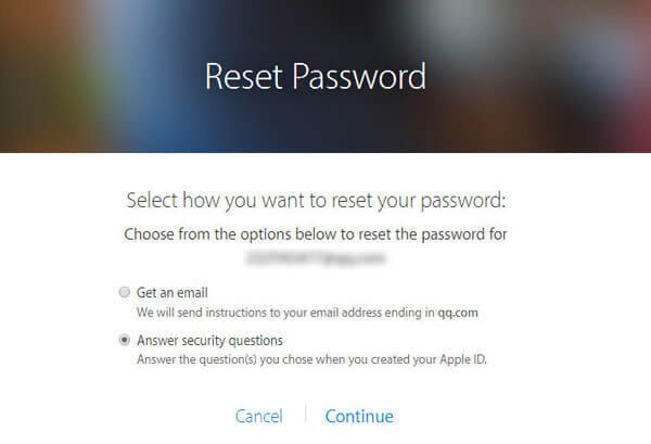 Choose to Answer Security Questions to Reset Forgotten iCloud Password