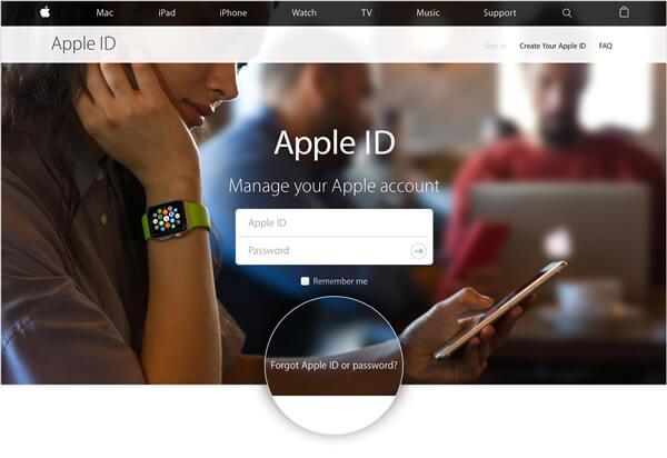 Witryna Apple iForgot