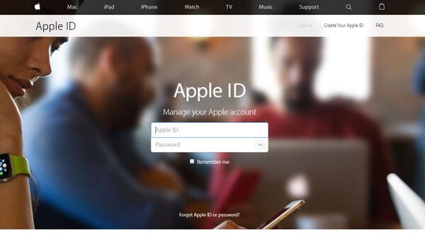 Inserisci la pagina dell'account ID Apple.