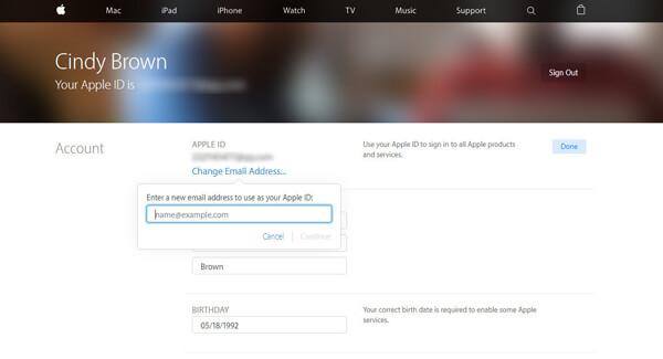 Inserisci un nuovo indirizzo email