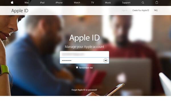 Inserisci ID Apple e password