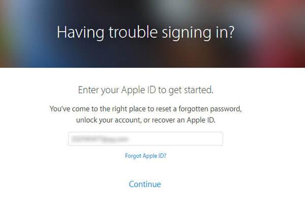 Inserisci l'ID Apple per reimpostare la password