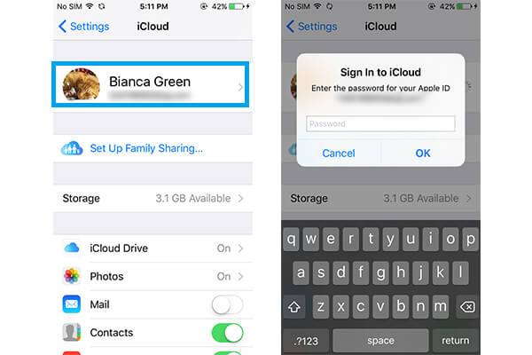 Accedi a iCloud con ID Apple e password