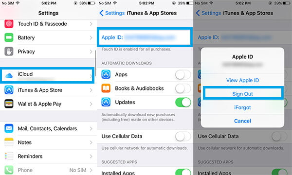 Esci dall'ID Apple dal dispositivo iOS