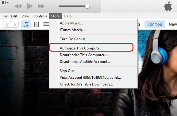 Authorize Computer  on iTunes